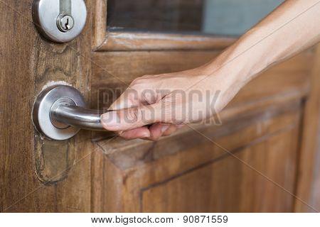 Hand Hold Handle Of Wood Door