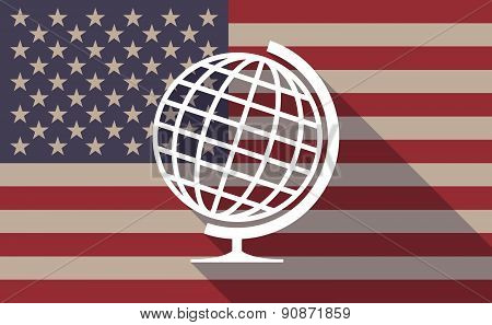 Usa Flag Icon With A World Globe