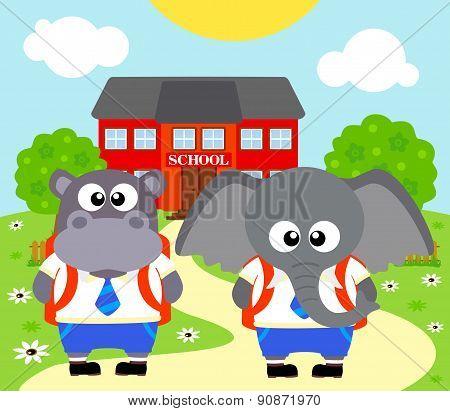 Back to school background with elephant ,hippopotamus