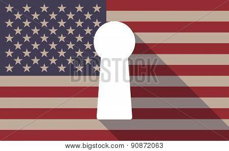 Usa Flag Icon With A Key Hole