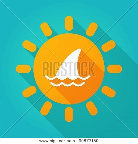 Long Shadow Sun Icon With A Shark Fin