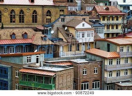 TBILISI, GEORGIA - MAY 01, 2015: Facades of houses in the old town