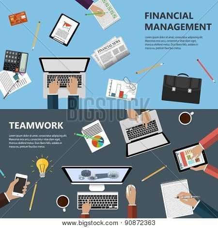 Modern flat design financial management and teamwork concept  for e-business, web sites, mobile applications, banners, corporate brochures, book covers, layouts etc. Raster illustration