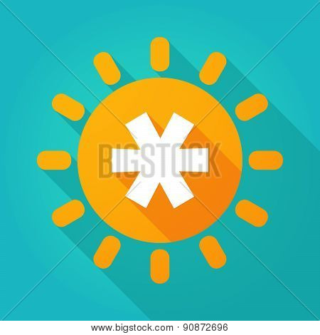 Long Shadow Sun Icon With An Asterisk