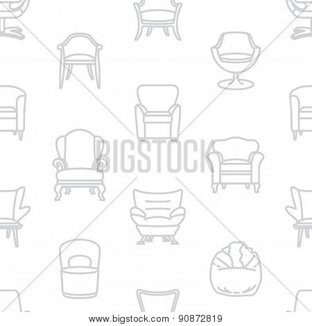 Seamless vector white pattern of armchairs
