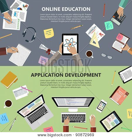 Modern flat design online education and app development concept  for e-business, web sites, mobile applications, banners, corporate brochures, book covers, layouts etc. Raster illustration