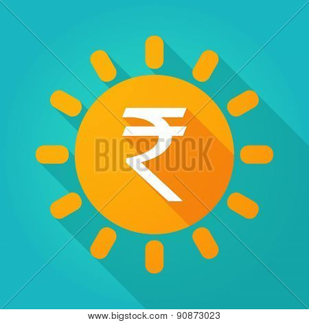 Long Shadow Sun Icon With A Rupee Sign