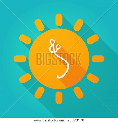 Long Shadow Sun Icon With An Ebola Sign