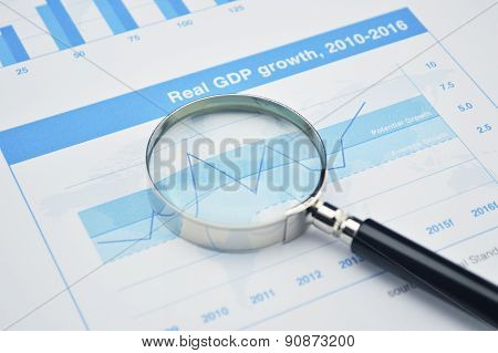 Magnifying Glass On Financial Graph, Accounting Background