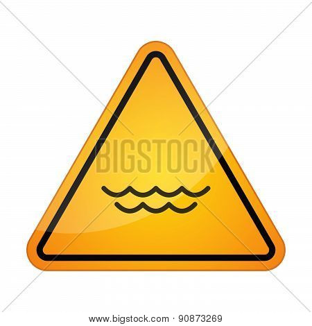 Danger Signal Icon With A Water Sign