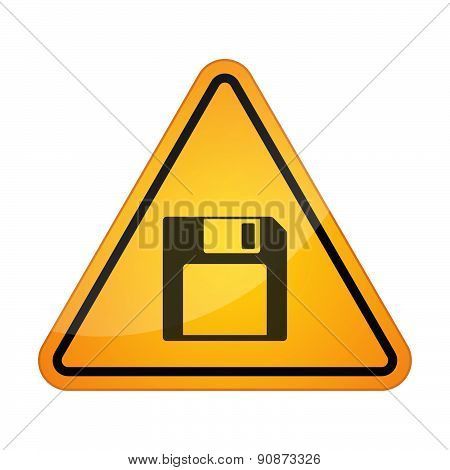 Danger Signal Icon With A Floppy Disk