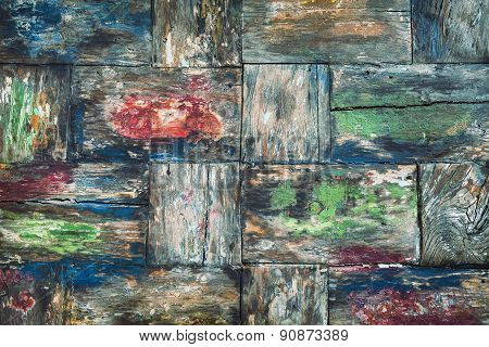 Old colorful teak wood desk background