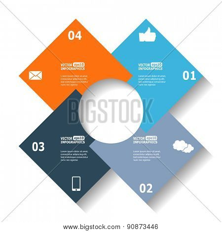 Modern circle infographics for e-business, diagrams, charts, web sites, mobile applications, banners, corporate brochures, book covers, layouts, presentations etc. Raster illustration