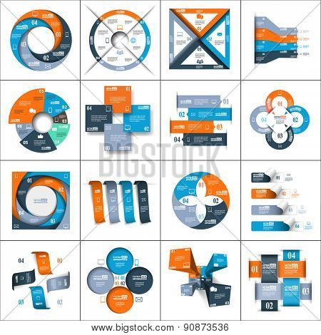 Modern paper infographics set for e-business, diagrams, charts, web sites, mobile applications, banners, corporate brochures, book covers, layouts, presentations etc. Raster illustration