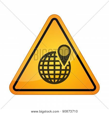 Danger Sign Icon With A World Globe