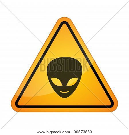 Danger Signal Icon With An Alien Face