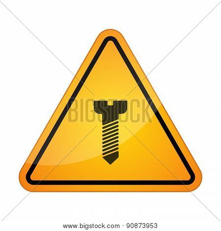 Danger Signal Icon With A Screw