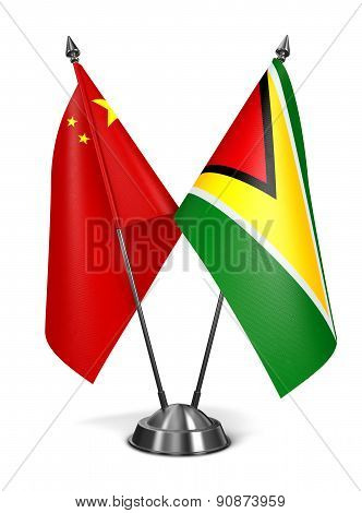 China and Guyana - Miniature Flags.