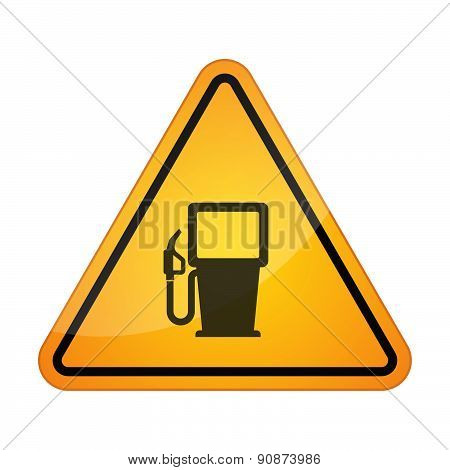 Danger Signal Icon With A Gas Station