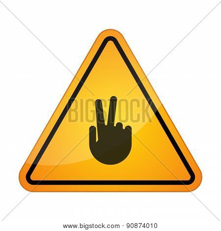 Danger Signal Icon With A Victory Hand