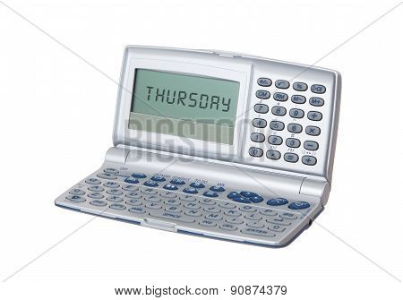 Electronic Personal Organiser Isolated - Thursday