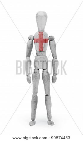 Wood Figure Mannequin With Flag Bodypaint - England