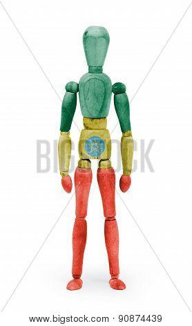 Wood Figure Mannequin With Flag Bodypaint - Ethiopia