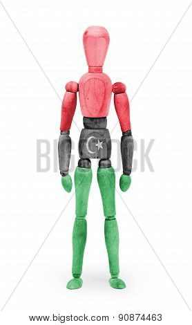 Wood Figure Mannequin With Flag Bodypaint - Libya