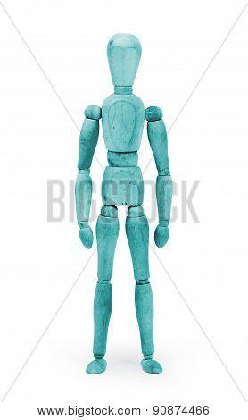 Wood Figure Mannequin With Bodypaint - Blue