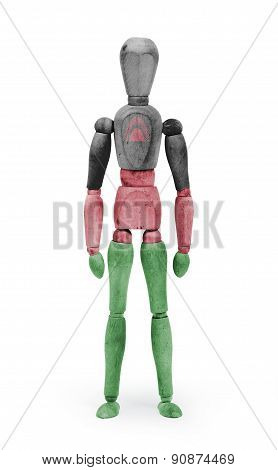 Wood Figure Mannequin With Flag Bodypaint - Malawi