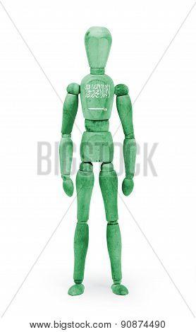 Wood Figure Mannequin With Flag Bodypaint - Saudi Arabia