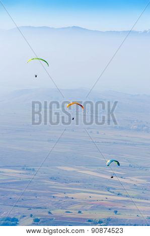 paragliding above the mountain range
