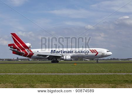Amsterdam Airport Schiphol - Md-11 Of Martinair Cargo Lands