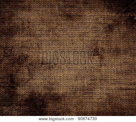 Grunge background of brown-nose burlap texture