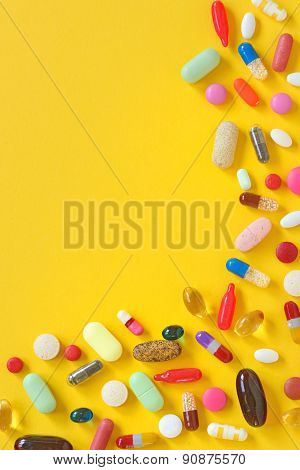 Many Different Colorful  Pills