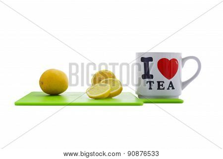 White cup of tea on white background
