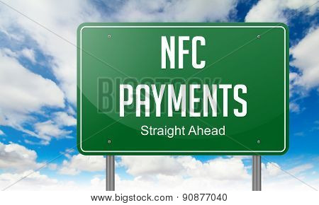 NFC Payments on Highway Signpost.