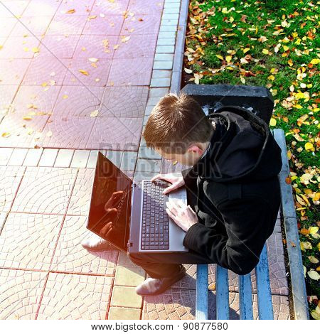 Guy With Laptop Outdoor