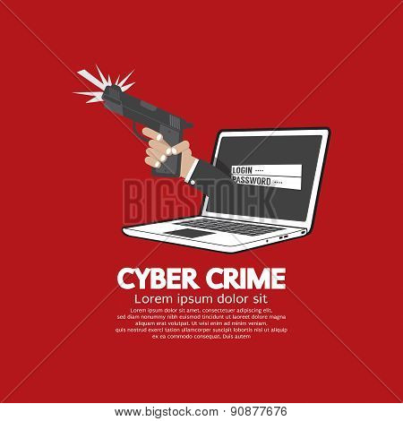 Gun In Hand Cyber Crime Concept.