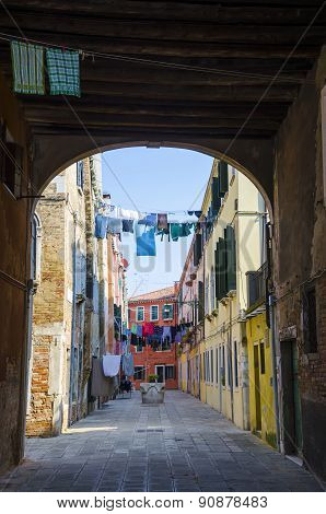 Traditional street with clothes drying, Venice