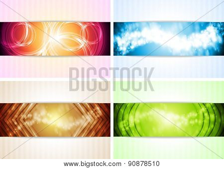 Set of abstract colorful illustrations. Raster art shiny backgrounds