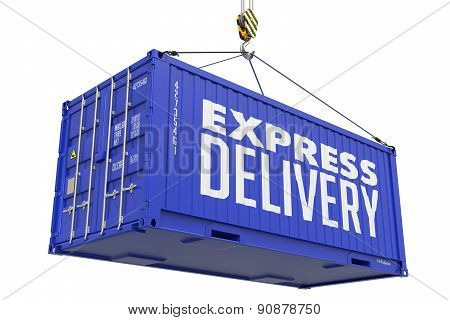 Express Delivery -Blue Hanging Cargo Container.