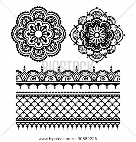 Mehndi, Indian Henna tattoo seamless pattern