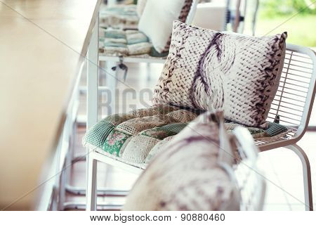 Pillow And Cushion Fabric Decoration On Chair