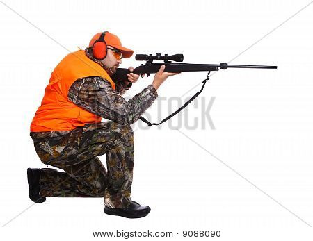 Hunter Kneeling And Aiming