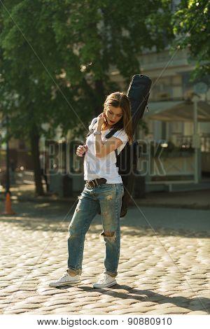 Beautiful Girl With Guitar