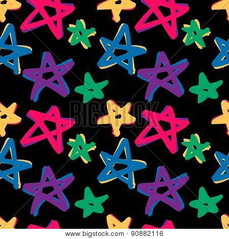 seamless stars pattern in retro color