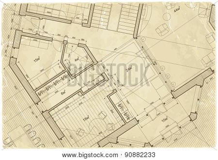 architectural drawing House Plan on the texture of the old sheet of paper / vector illustration / eps10