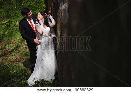 Wedding Couple Near Old Wooden Fence