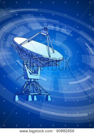satellite dishes antenna - doppler radar & blue radial technology background. Vector illustration / eps10